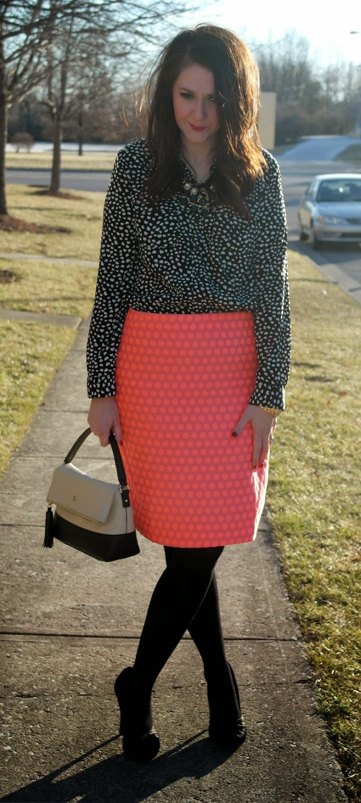 Fashion look from january 2016 featuring pink opaque tights round -  The Shirtdress To Transform The Look I Ve Had My Eye On This J Crew Factory Skirt Since September But The Price Wasn T Working For Me Until January