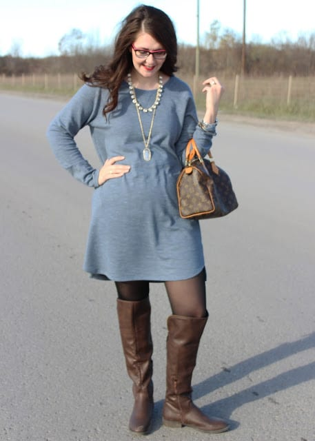 8f909244435 Thanksgiving Day Outfit  Sweater Dress and OTK Boots
