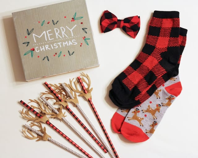 merry christmas sign 3 buffalo plaid kids bow tie 3 socks 1each 2 total adorable festive straws 1 cookies for santa plate not pictured