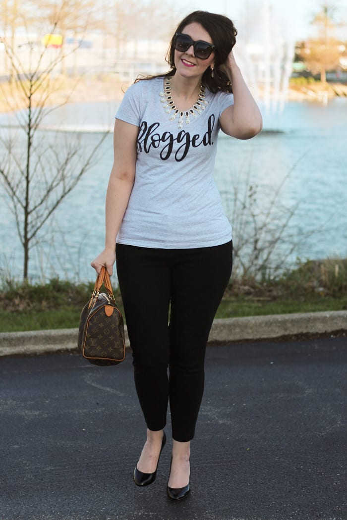 the blogged tee how to dress up a graphic tee bright