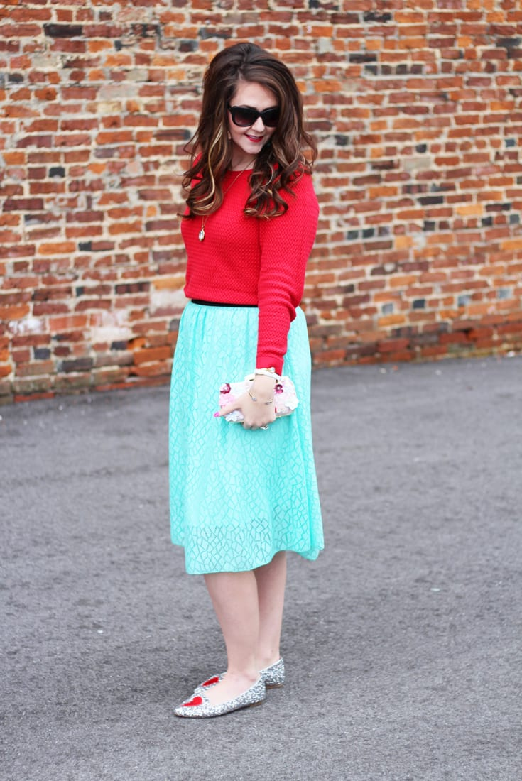 Red Turquoise With LuLaRoe Lola Skirt Bright On A Budget