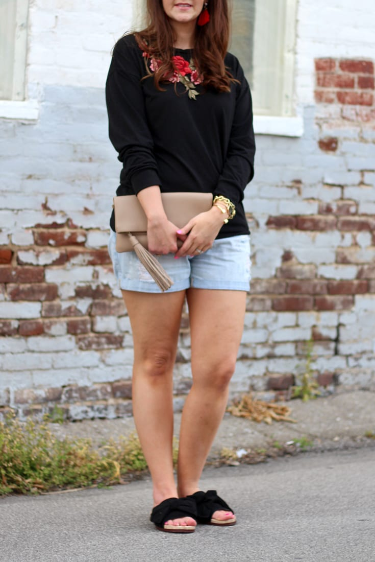 embroidered roses tee and destroyed boyfriend jean shorts