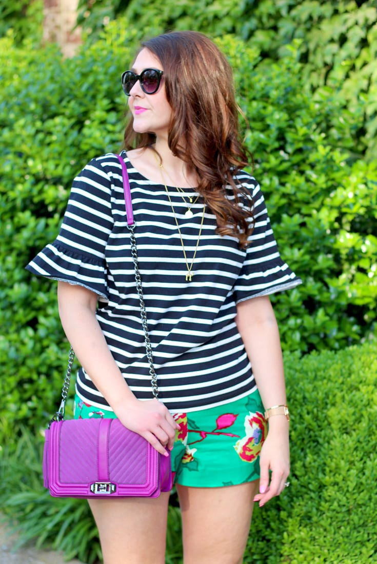 striped ruffled sleeve top and best shorts for summer