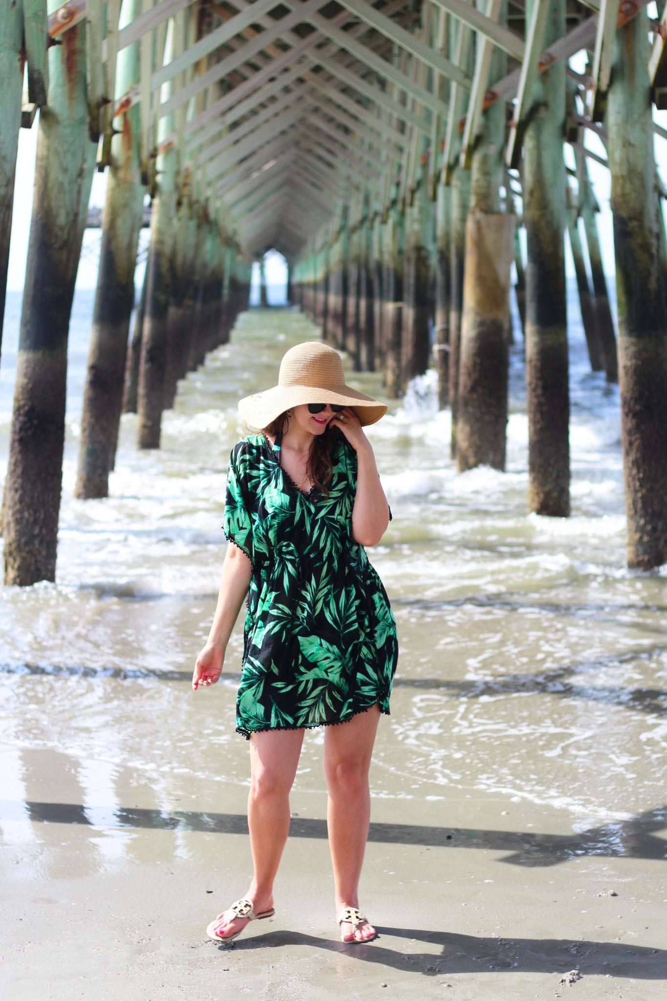 ropical Palm Print Swimsuit and Coverup
