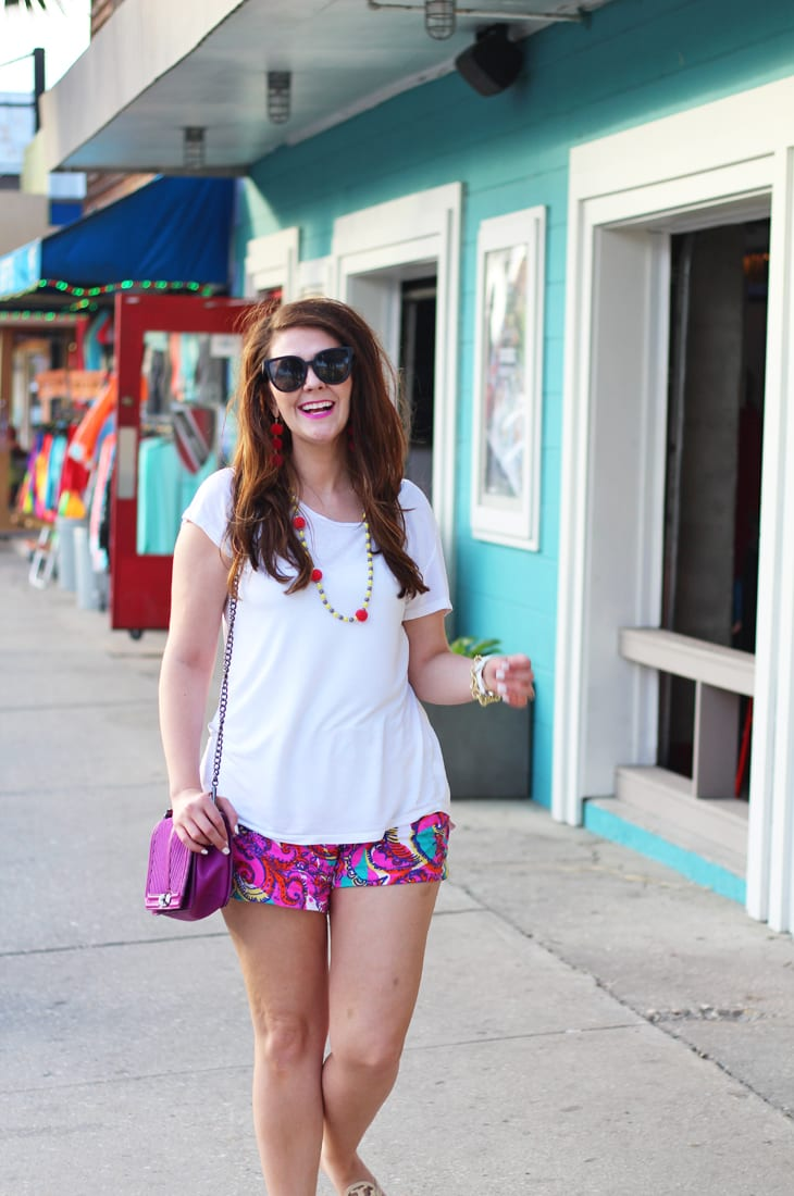 Lilly Pulitzer Shorts and White Tee for Summer