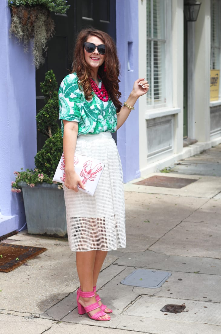 palm print top and birdcage skirt