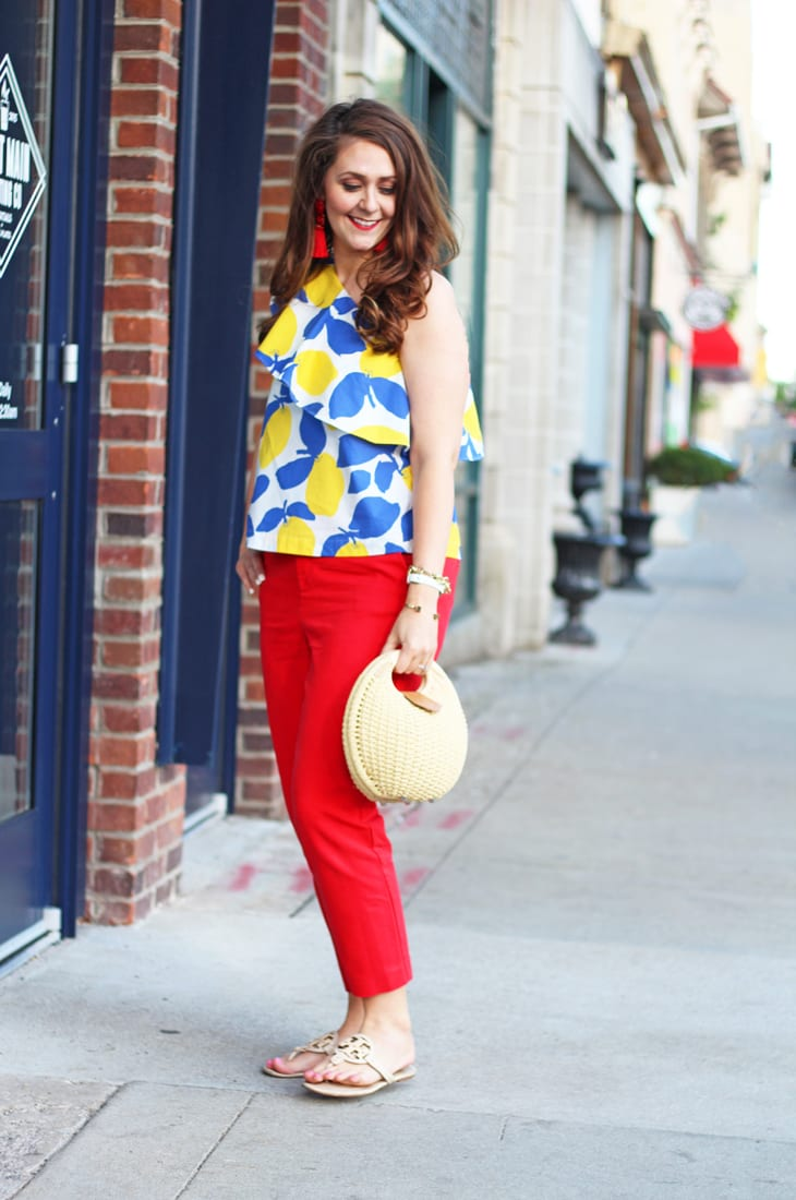 one shoulder lemon print top