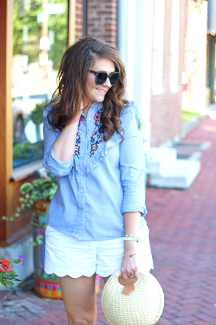 Blue and White Ruffled Yoke Top for Summer