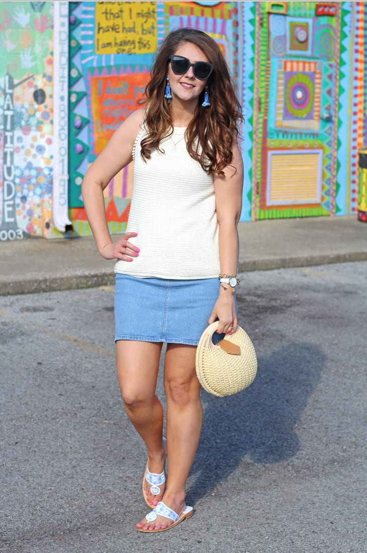 White Sleeveless Sweater and Denim Skirt