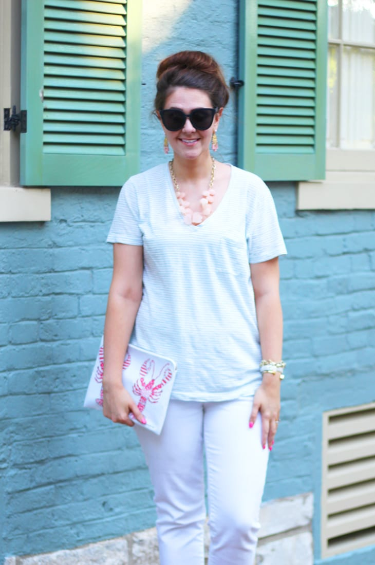 Casual natuical vibe--blue striped tee and white jeans