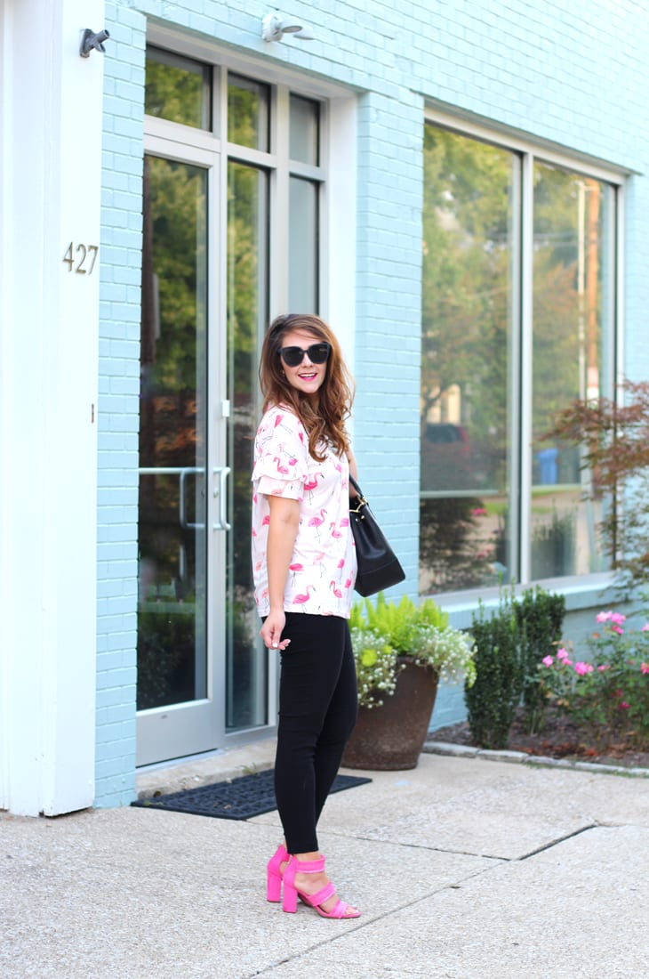 bold prints for work--flamingo ruffle sleeve tee