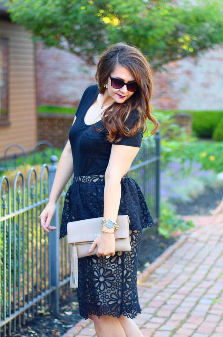 Black Organza Peplum Skirt by Rachel Parcell