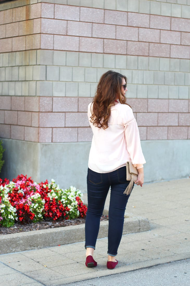 Blush and burgundy outfit for fall