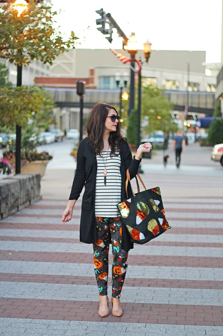 Casual Halloween outfit with LuLaRoe Halloween Leggings