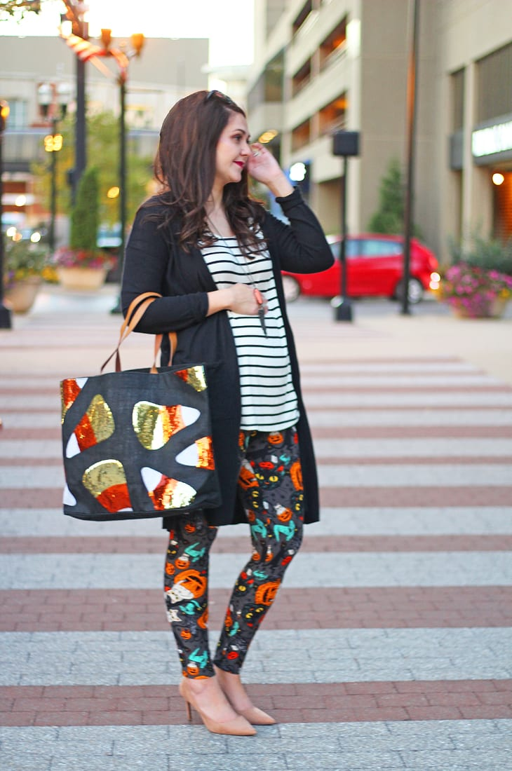 Casual Halloween Outfit feat. LuLaRoe Halloween Leggings | Bright on a Budget