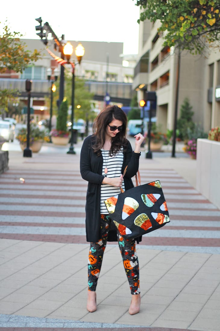 Casual Halloween Outfit feat. LuLaRoe Halloween Leggings | Bright ...