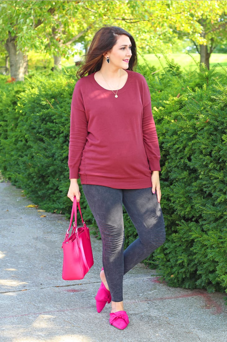 Moto leggings and tunic sweater--burgundy and pink