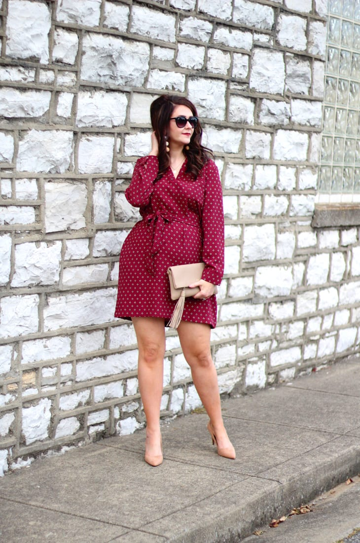 Mudpie Market burgundy tie waist dress for fall 1