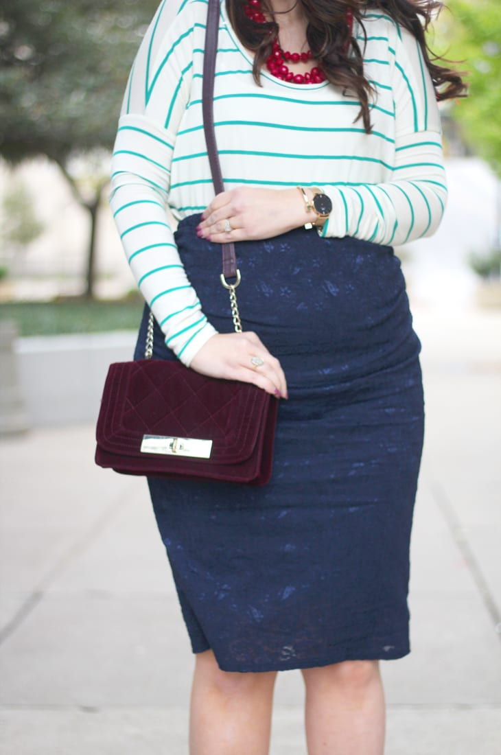 lace maternity pencil skirt from pink blush