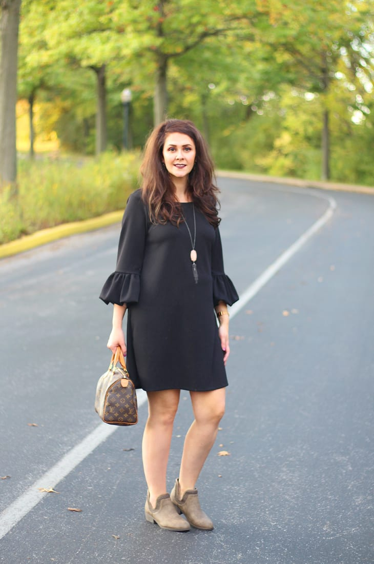 little black dress with puffy statement sleeves