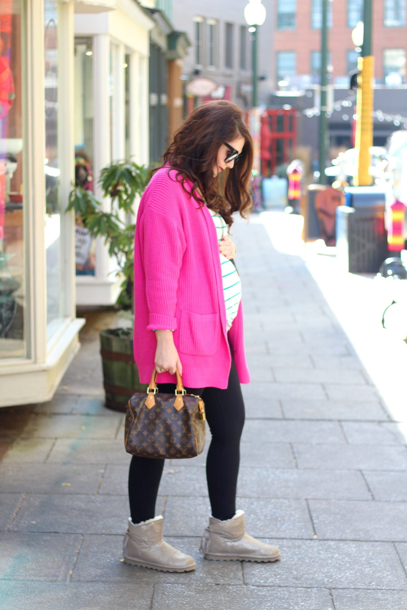 Oversized pink cardigan + babymoon in Asheville