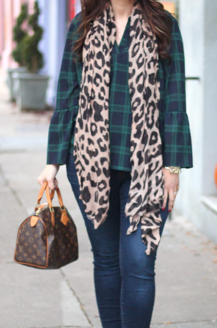 Plaid and leopard pattern mix for fall