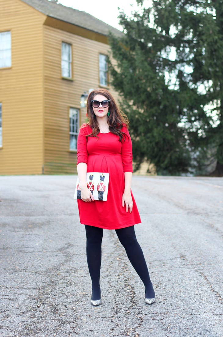 a54fb7beaf christmas card pictures this past weekend so i wanted to share this festive red  maternity dress