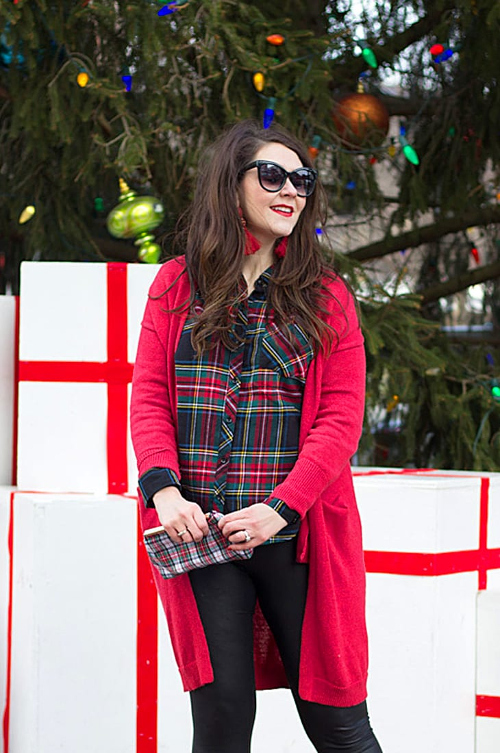 Holiday party look--faux leather leggings and plaid (works for maternity)