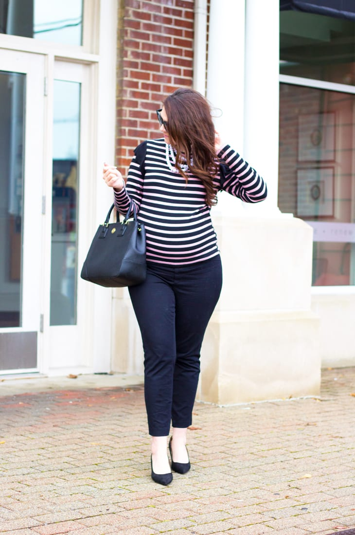 Best black maternity pants for workwear--black and lilac workwear look for spring