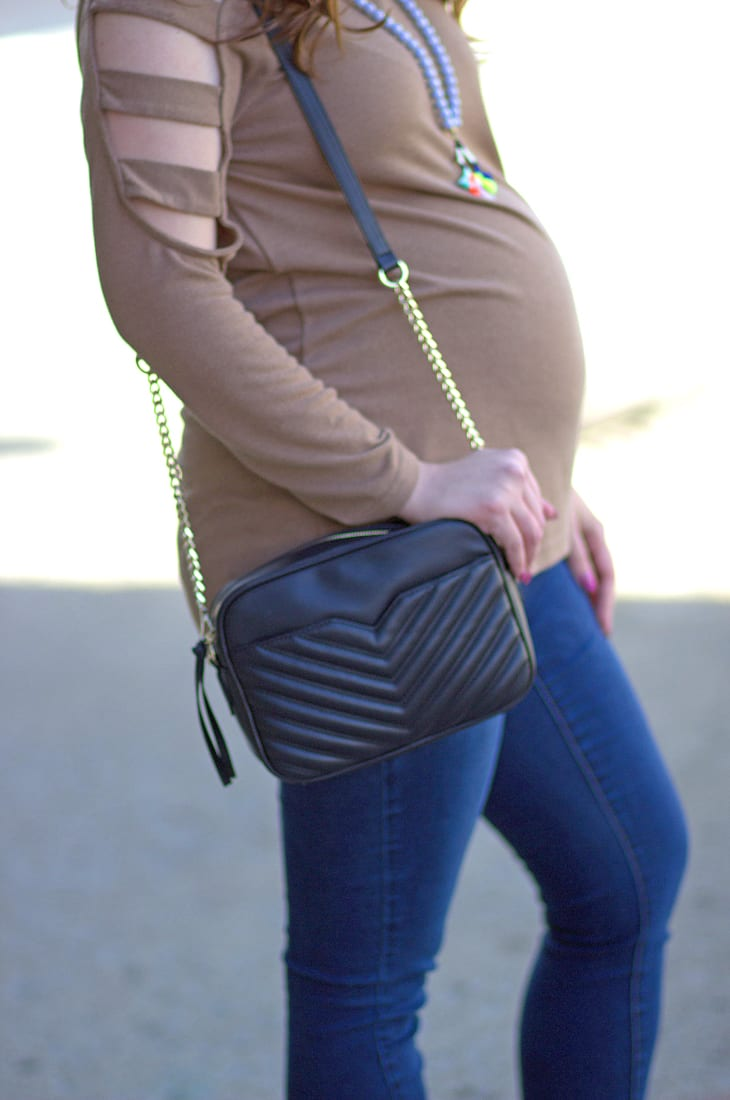Strappy cold shoulder maternity top