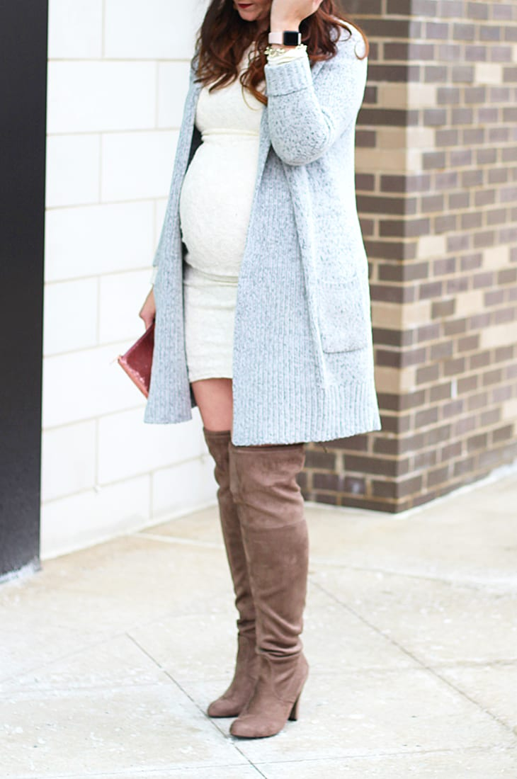 cozy neutrals maternity look with lace dress and over the knee boots 1