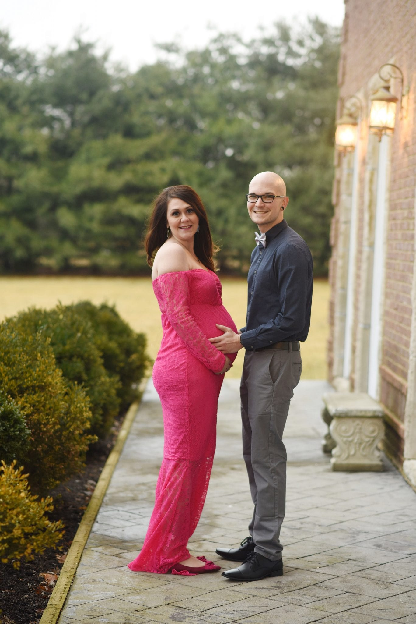 Hot pink off the shoulder lace dress maternity photos session Lexington, KY