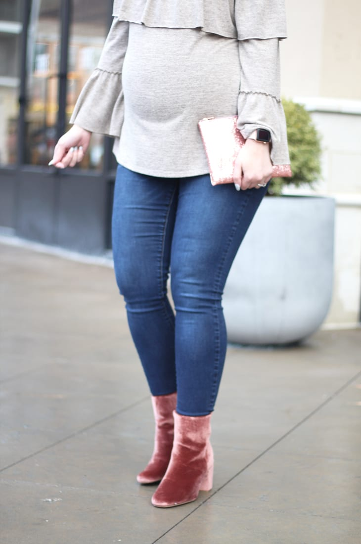 Casual Valentine's Day Outfit feat. ruffled top + pink booties