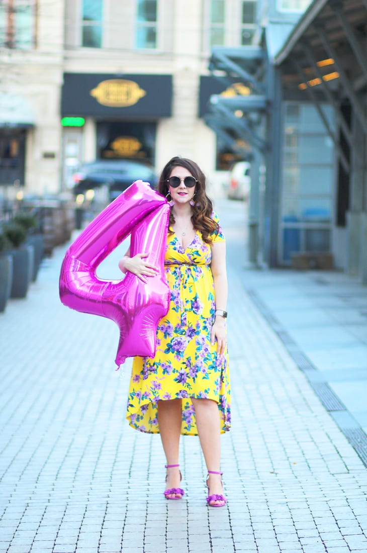 Yellow and purple floral high-low hem dress for spring