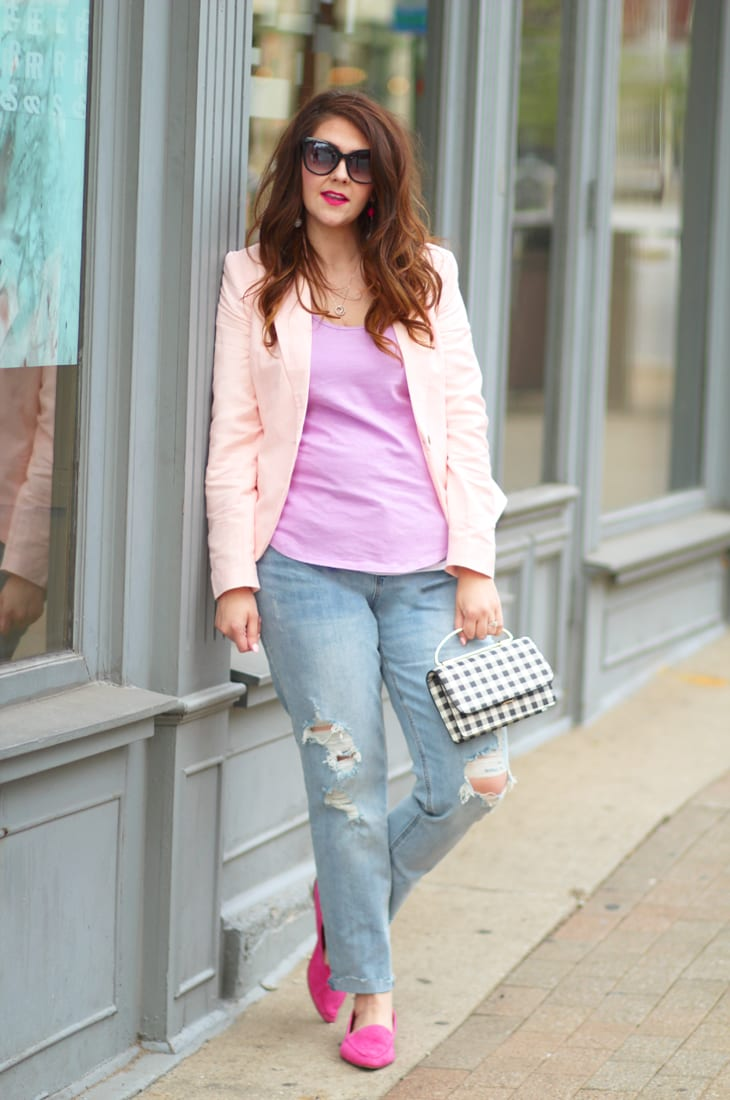 blush linen blazer and boyfriend jeans