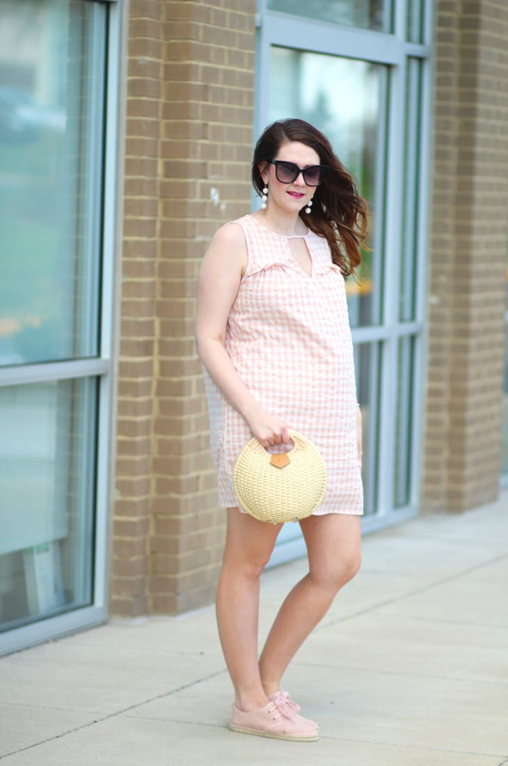 casual blush gingham dress
