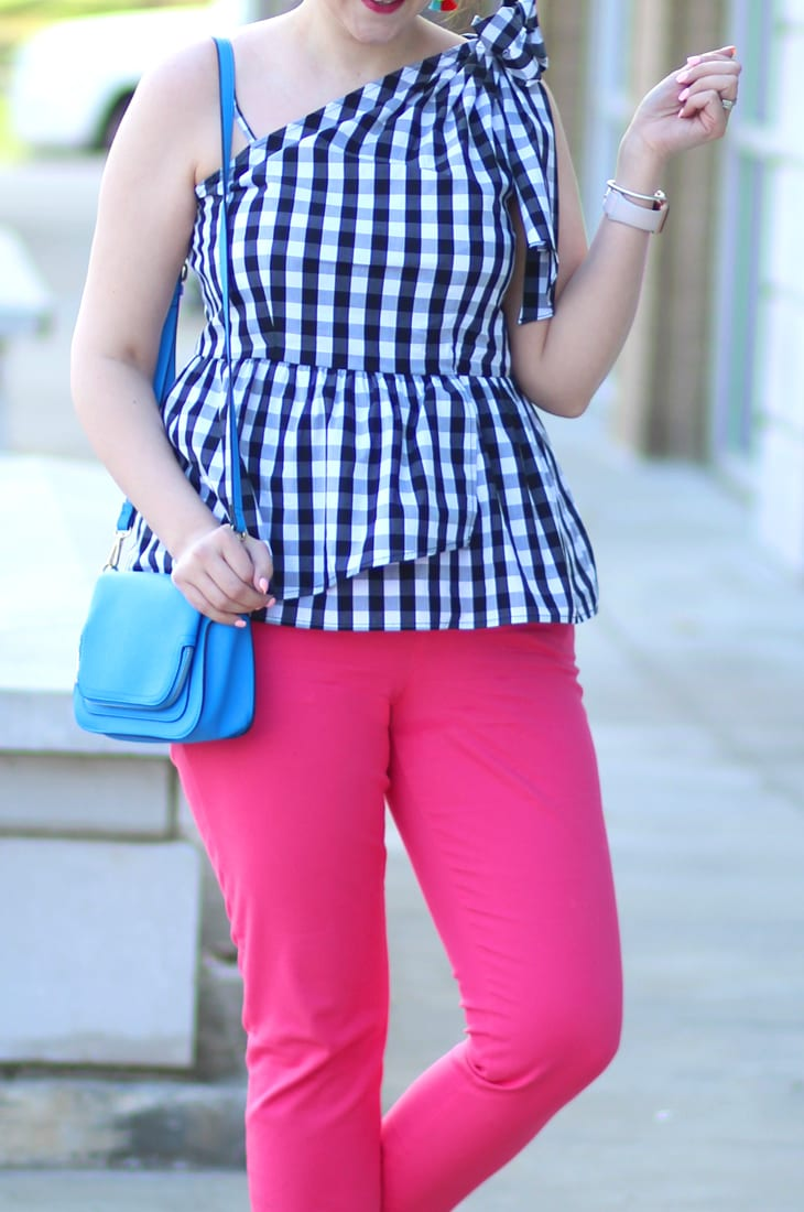 gingham bow shoulder top