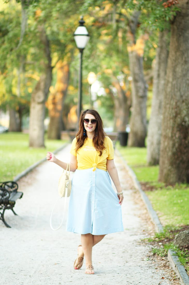Blue and white button front midi skirt Charleston, SC