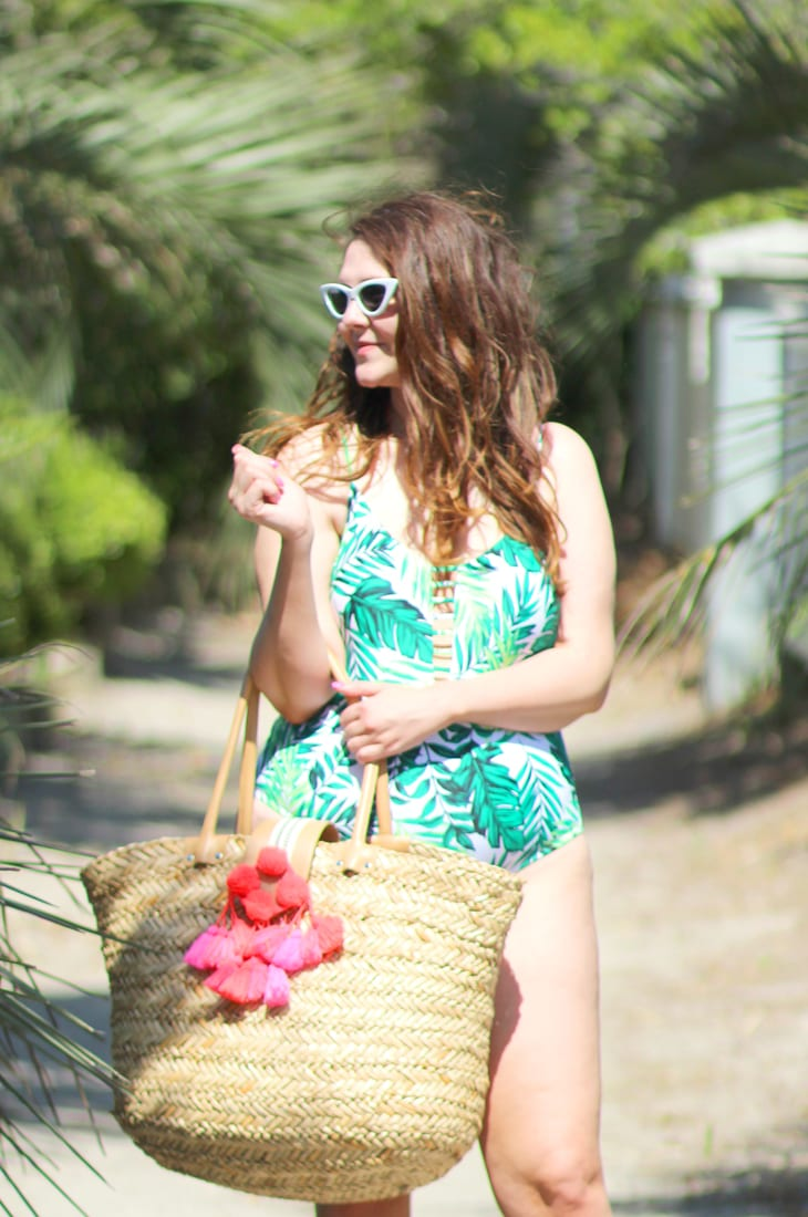 Loving your body after pregnancy palm print one pice swimsuit