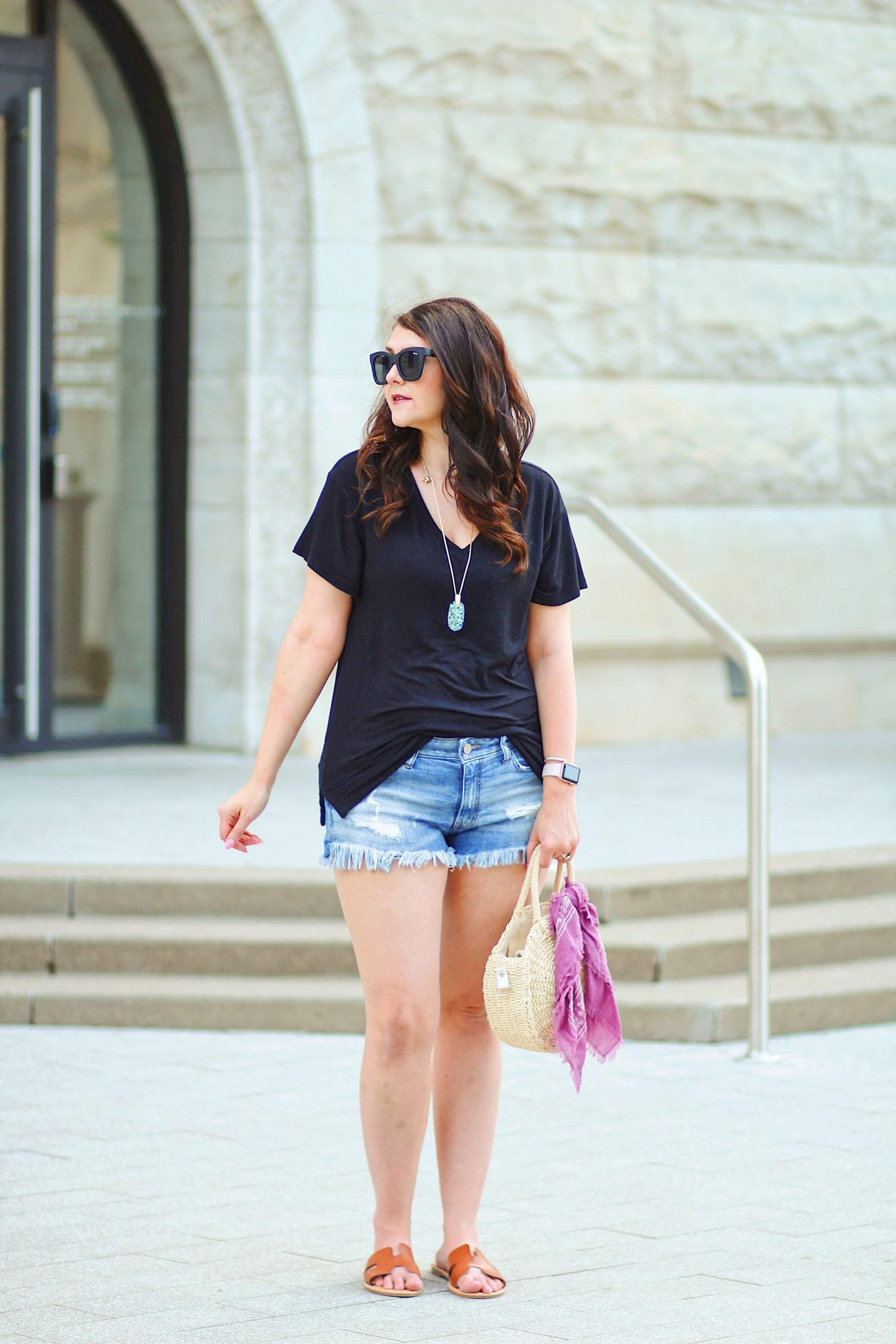Softest tee and best cutoff jean shorts--southern style blogger